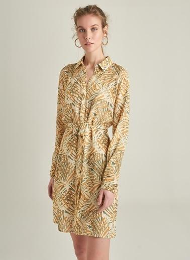 NGSTYLE Tropikal Desenli Viskon Gömlek Elbise Bej